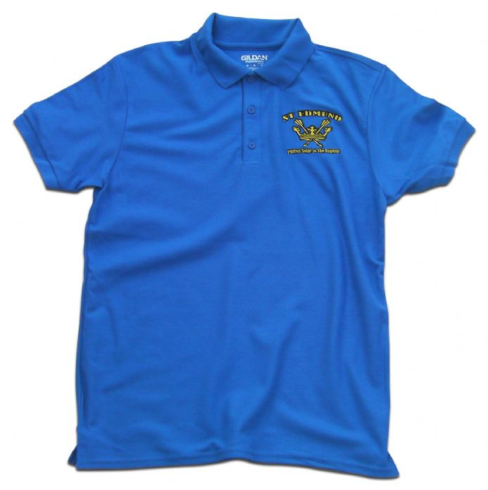 St Edmund Polo Shirt - Royal Blue with coat of arms embroidery